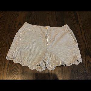 British Khaki pin striped shorts 4